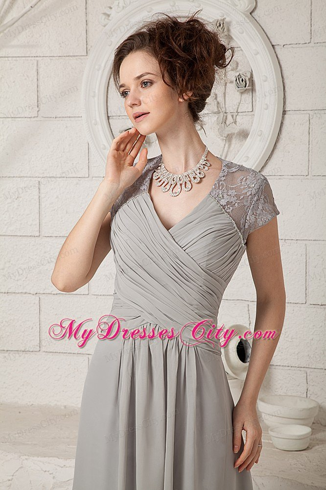 Grey Lace V-neck Cap Sleeves Floor-length Chiffon Mother Dress for Wedding