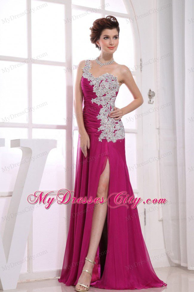 Appliques Chiffon One Shoulder Wine Red Prom Dress with Silt ...