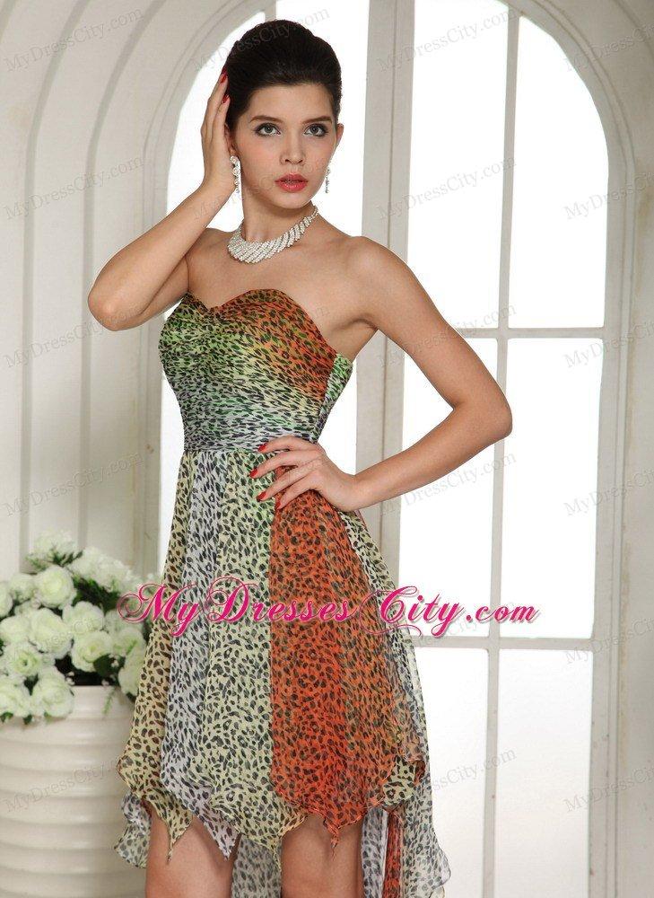 Leopard Colorful Chiffon High Low Semi Formal Prom Dresses