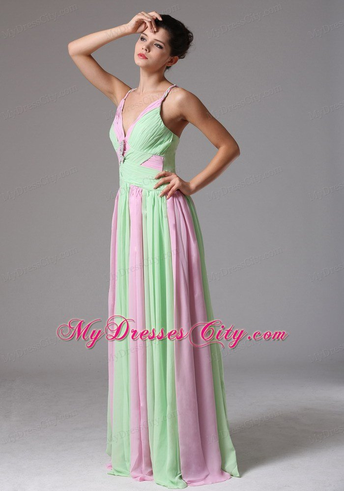 spaghetti straps ruching chiffon apple green and baby pink