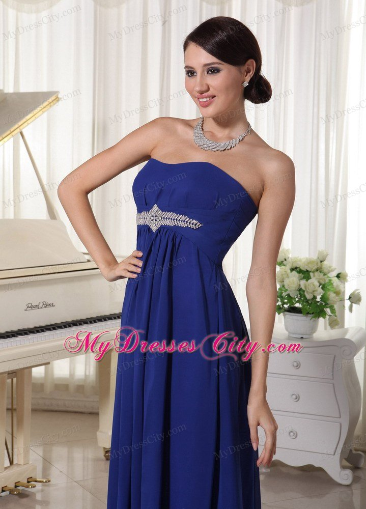 Plus Size Strapless Beaded Royal Blue Chiffon Prom Dresses for Cheap