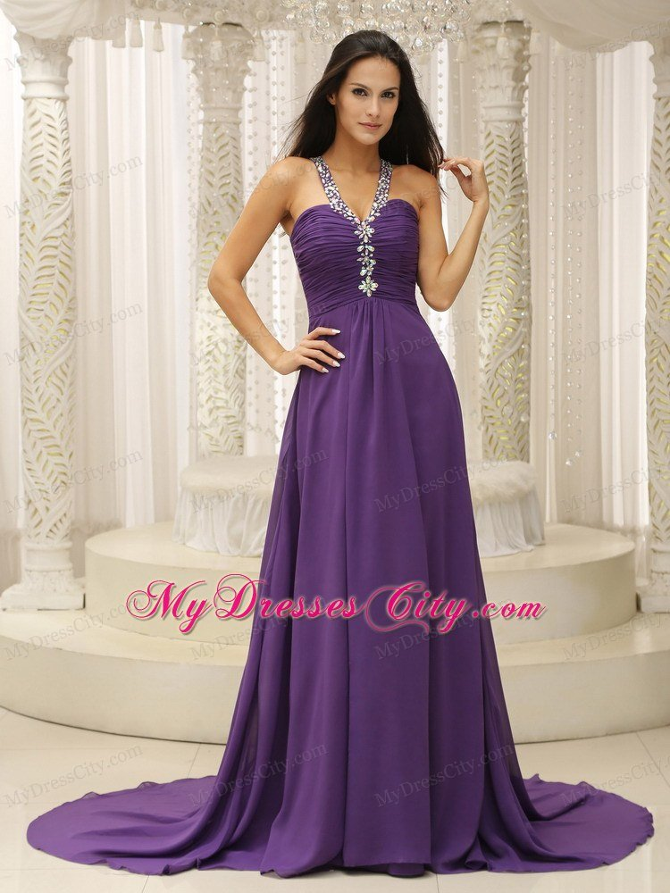 Empire Jeweled Neckline Ruched Purple Prom Dresses with Cool Back ...