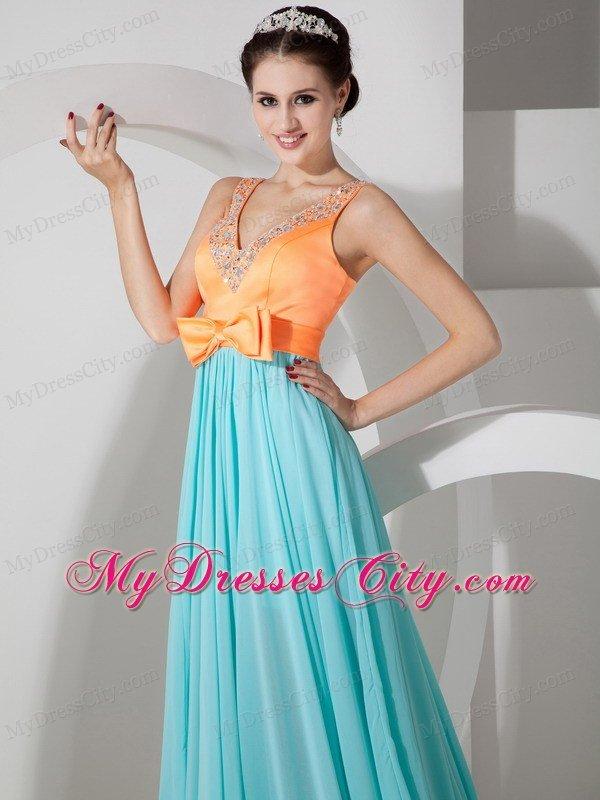 V-neck Beaded Empire Chiffon Prom Dresses in Orange and ...