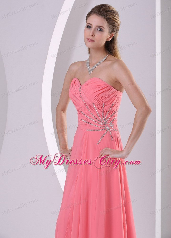 Sweetheart Ruching Beaded Chiffon Watermelon Prom Dresses ...