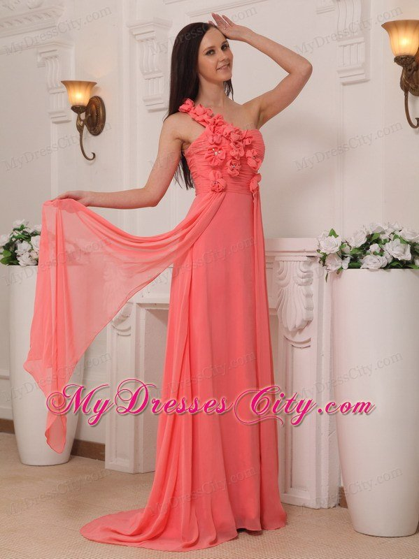 Watermelon Flowers One Shoulder Empire Chiffon Prom Dresses