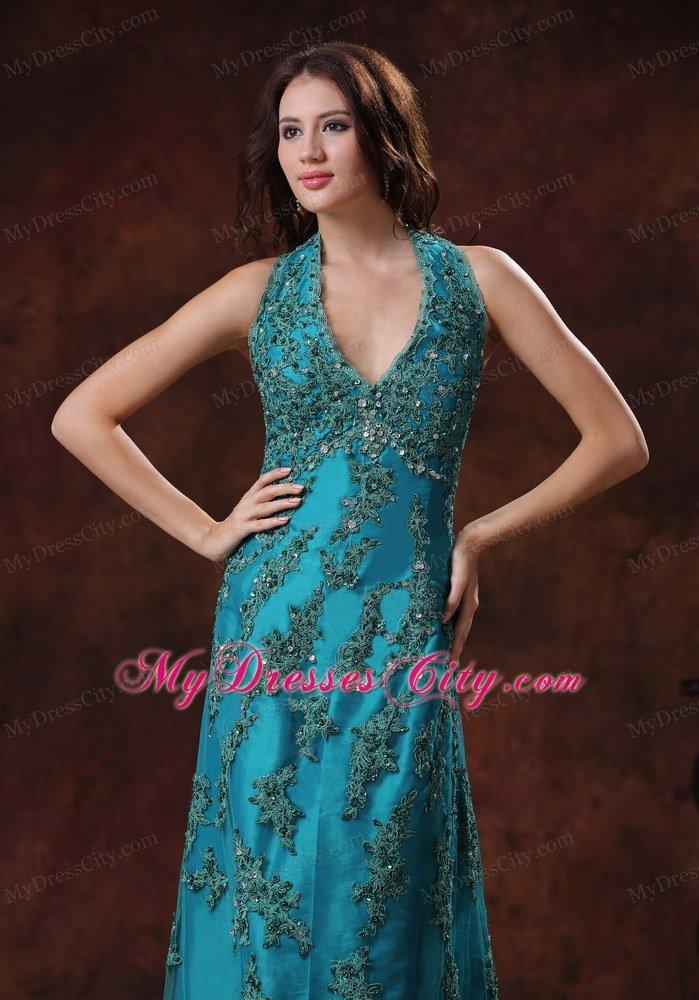 Amazoncom teal long prom dress