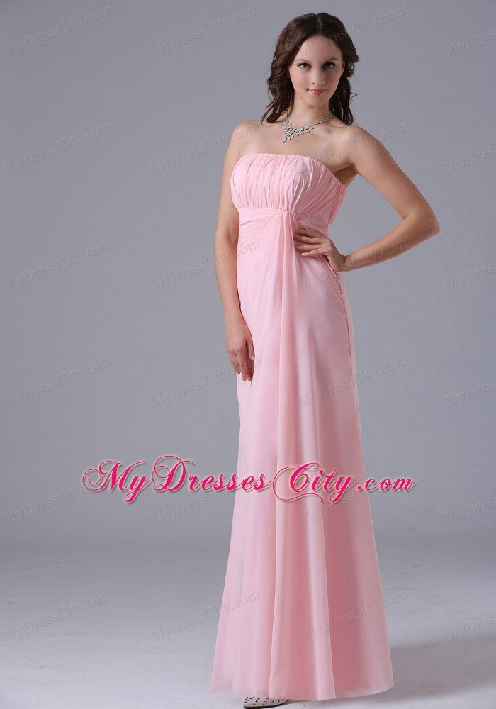 Simple Strapless Ruched Chiffon Baby Pink Prom Dresses for