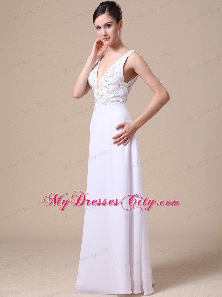 Empire V-neck Beaded Chiffon White Prom Dresses for Ladies ...