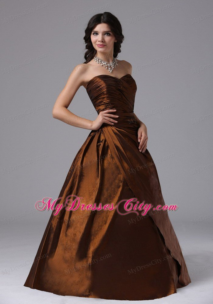 Brown Sweetheart Ruched Plus Size Prom Gowns for Ladies ...