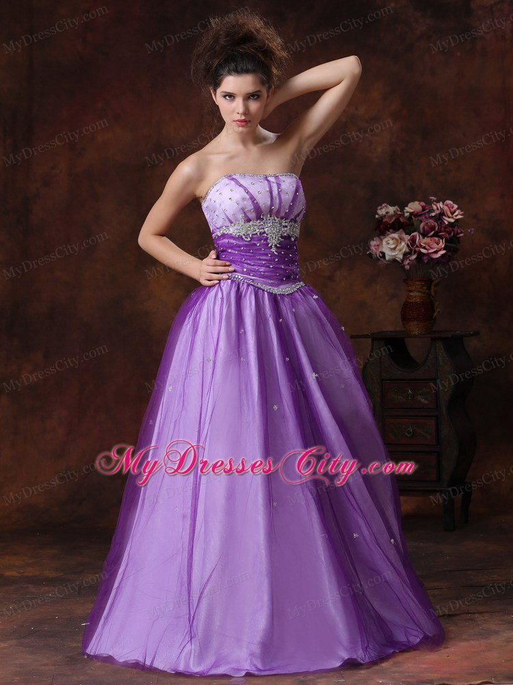 Beaded Appliques Strapless Lavender Tulle Prom Gowns - MyDressCity.com