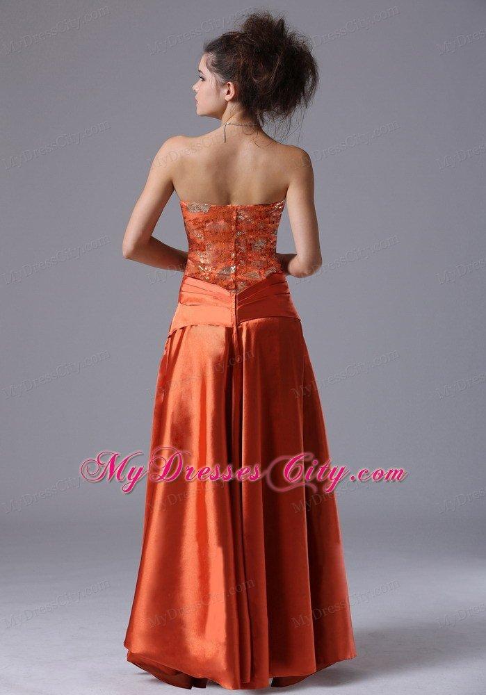 Rust Red Column Strapless Cheap Prom Dresses for Women - MyDressCity.com