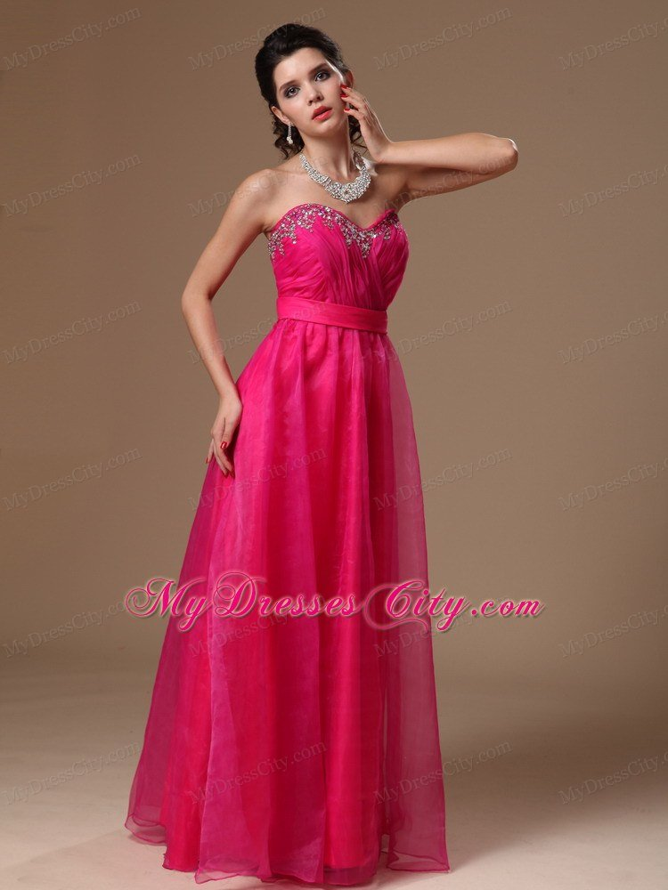 Sweetheart Beaded Organza Hot Pink Prom Gowns for Girls ...