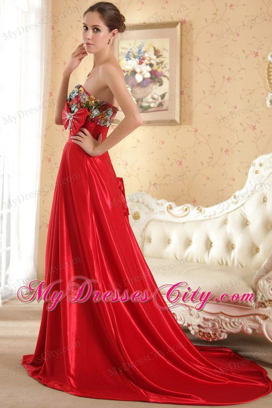 Red Sweetheart Court Train Beading And Bow Prom Evening Dress