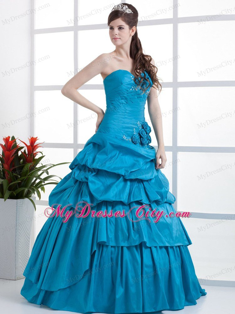 Teal Sweetheart Sweet Sixteen Dresses With Flowers