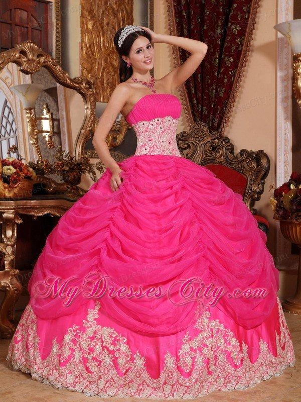 Hot Pink Strapless Organza Sweet Sixteen Dresses - MyDressCity.com