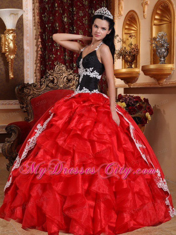 Cheap Red And Black V Neck Appliques Sweet Sixteen Dresses