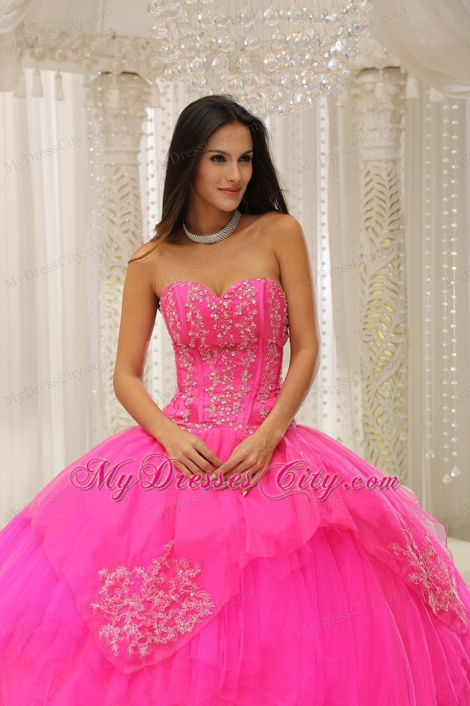 Discount Hot Pink Sweetheart Quinceanera Gown with Beading ...