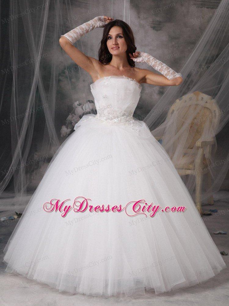 beautiful puffy princess strapless long appliques wedding