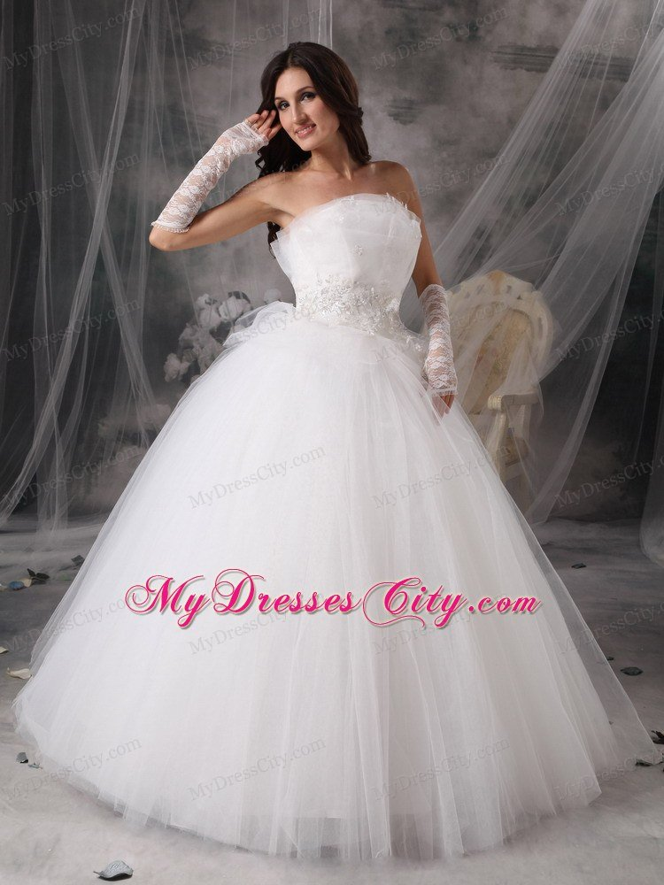 Beautiful Puffy Princess Strapless Long Appliques Wedding Dress ...
