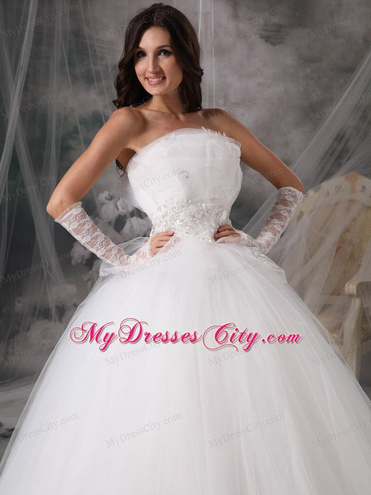 Beautiful puffy princess strapless long appliques wedding for Beautiful puffy wedding dresses