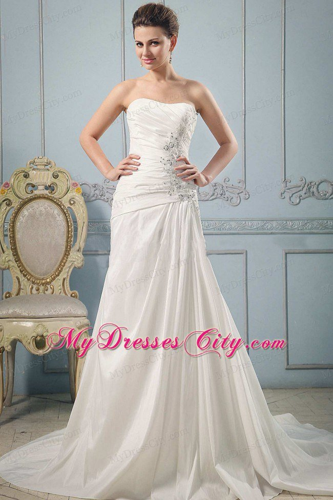 luxurious princess wedding dress with appliques and ruches