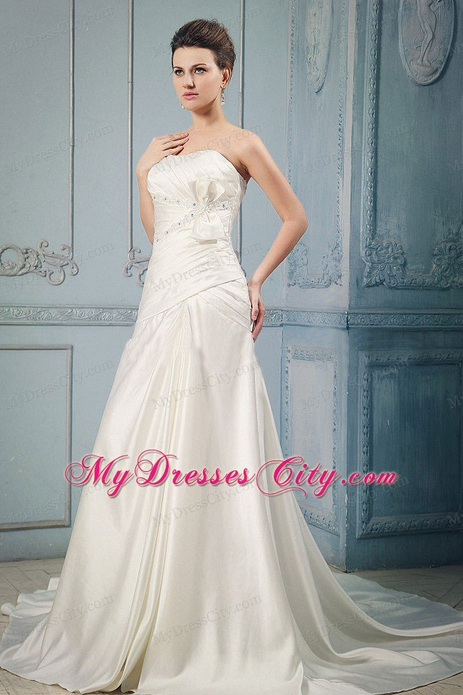 A-line Chapel Train Wedding Dress with Appliques and Bowknot ...
