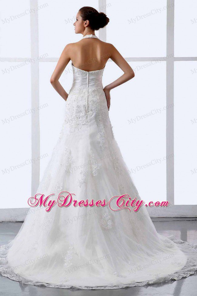 2013 Modern Halter Appliques Tulle Court Train Wedding Dress