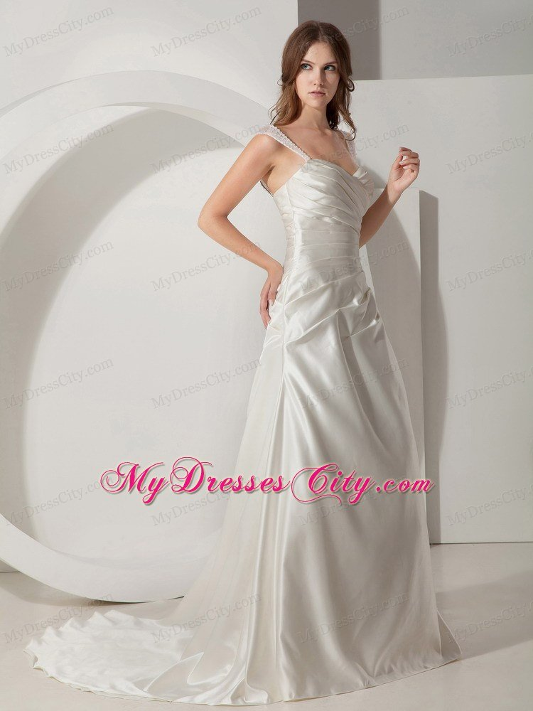 Simple princess straps court train taffeta ruched wedding for Simple courthouse wedding dress