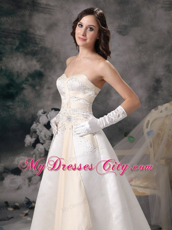 White and champagne princess sweetheart beading wedding for White and champagne wedding dress