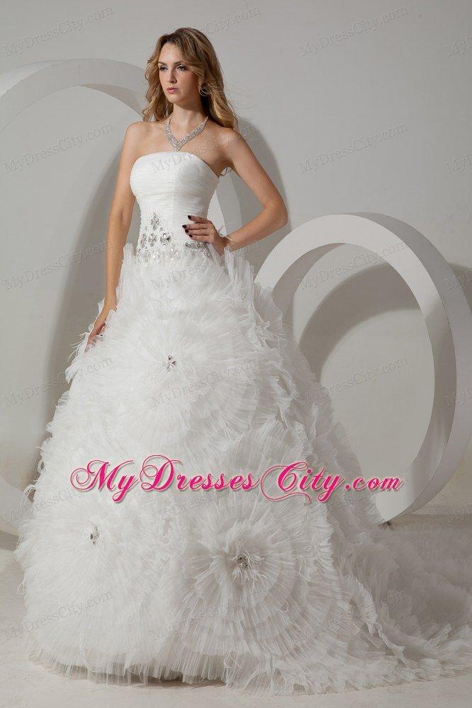 Beautiful puffy strapless rhinestone ruffled summer Beautiful puffy wedding dresses