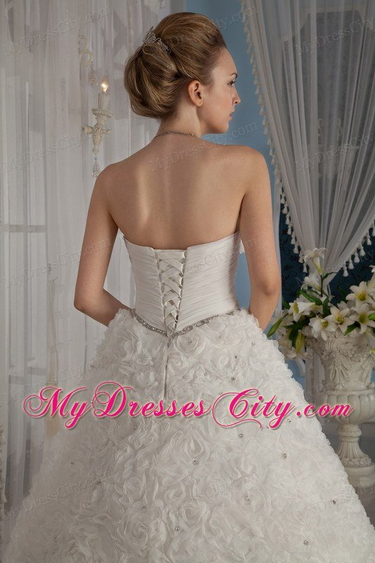 Puffy Strapless Special?Embossed Fabric Beading Wedding Gowns