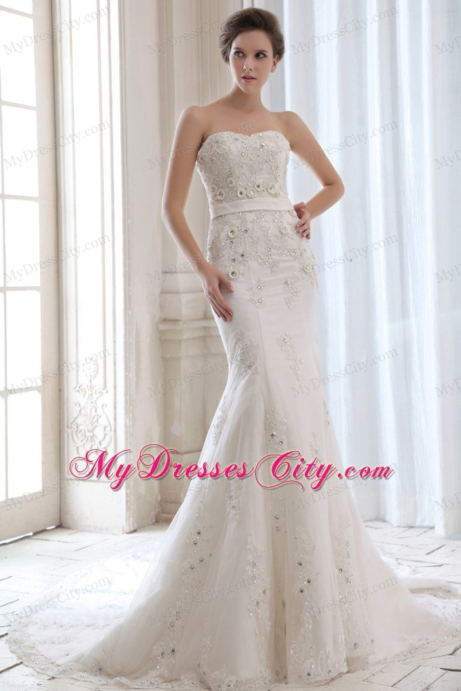 2013 Spring Mermaid Strapless Beading Appliques Beading Wedding Dress