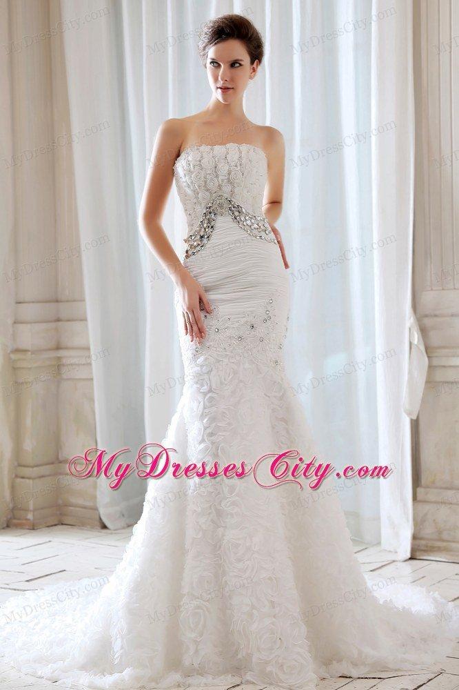 Lovely One Shoulder Court Train Flower?Embossed Fabric Wedding Dress