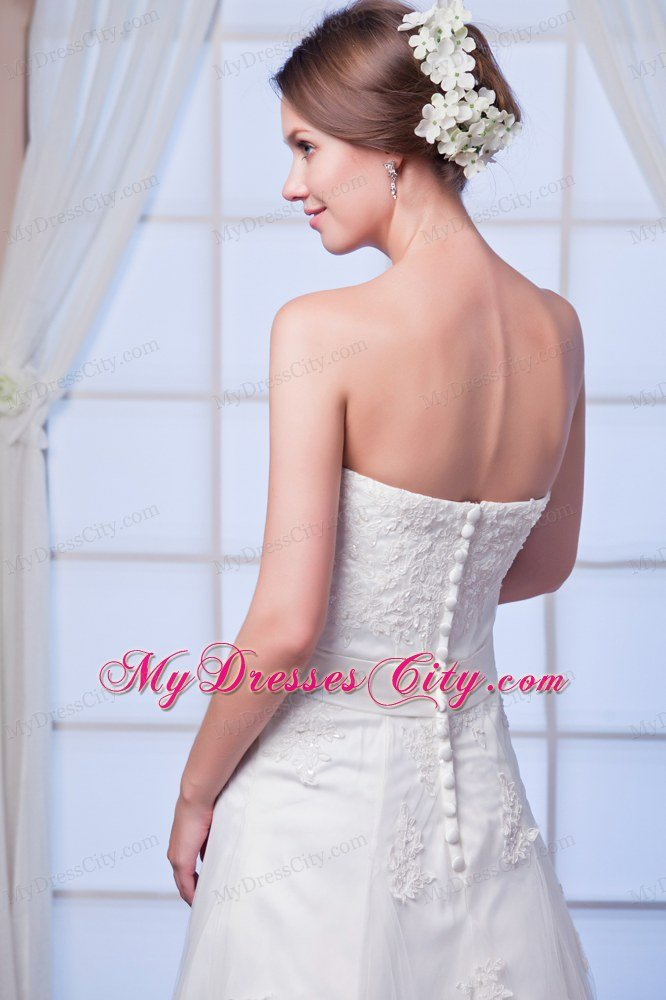 Elegant strapless lace appliques button down back wedding for Lace button back wedding dress