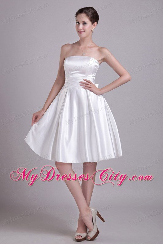 A Line Strapless Knee Length Zipper Back With Bowknot