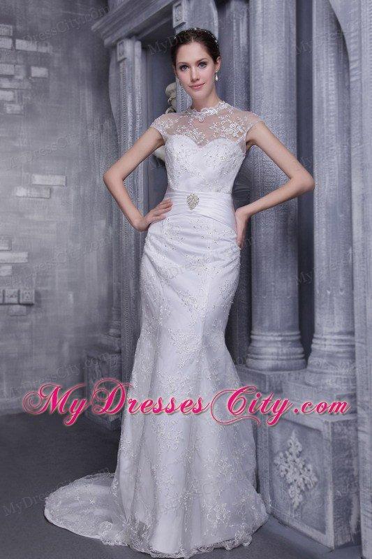 mermaid highneck beading wedding dress button down back