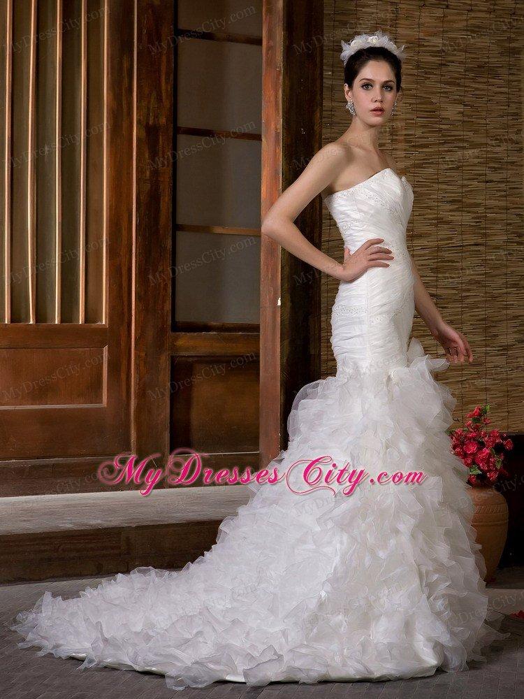 Mermaid organza ruffles layered and beaded wedding dress for Organza layered wedding dress
