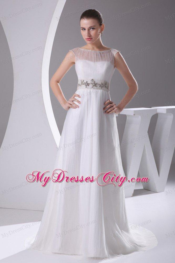 Sheer neckline beaded decorate waist count train wedding for Wedding dress large bust small waist