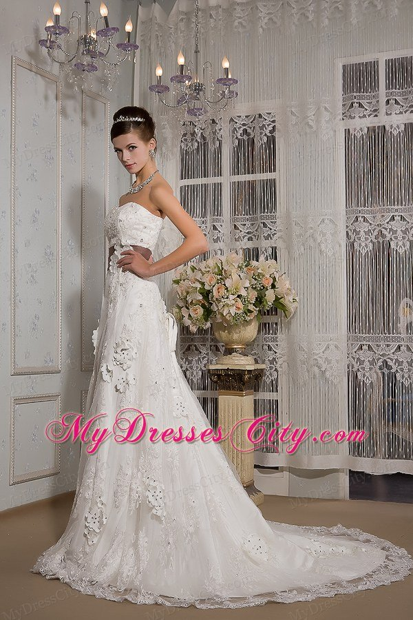 Dramatic lace appliques court train bridal dress with for Brown lace wedding dress