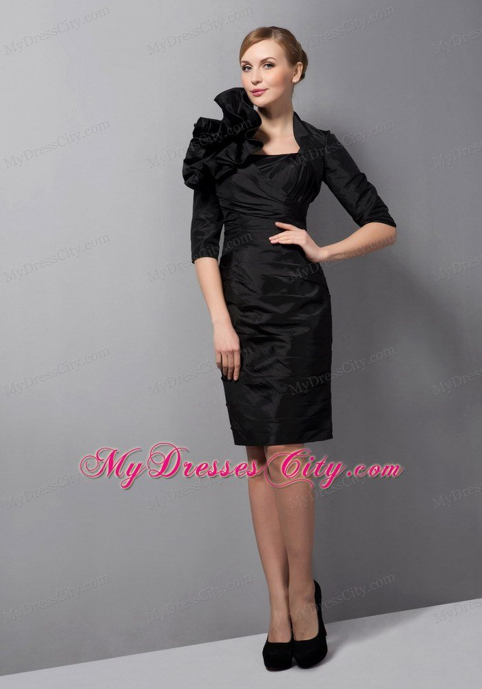 Cheap Straps Ruching Sheathy Lil Black Dress with Jacket