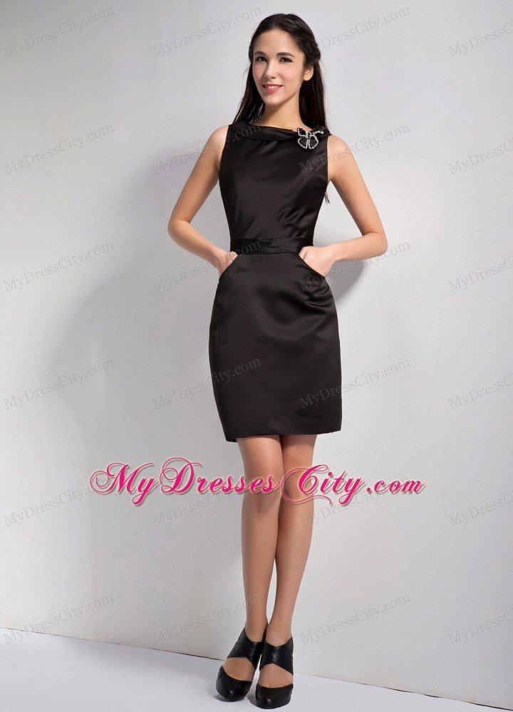 Sheathy Mini-length Bateau Little Black Dress with Pockets ...