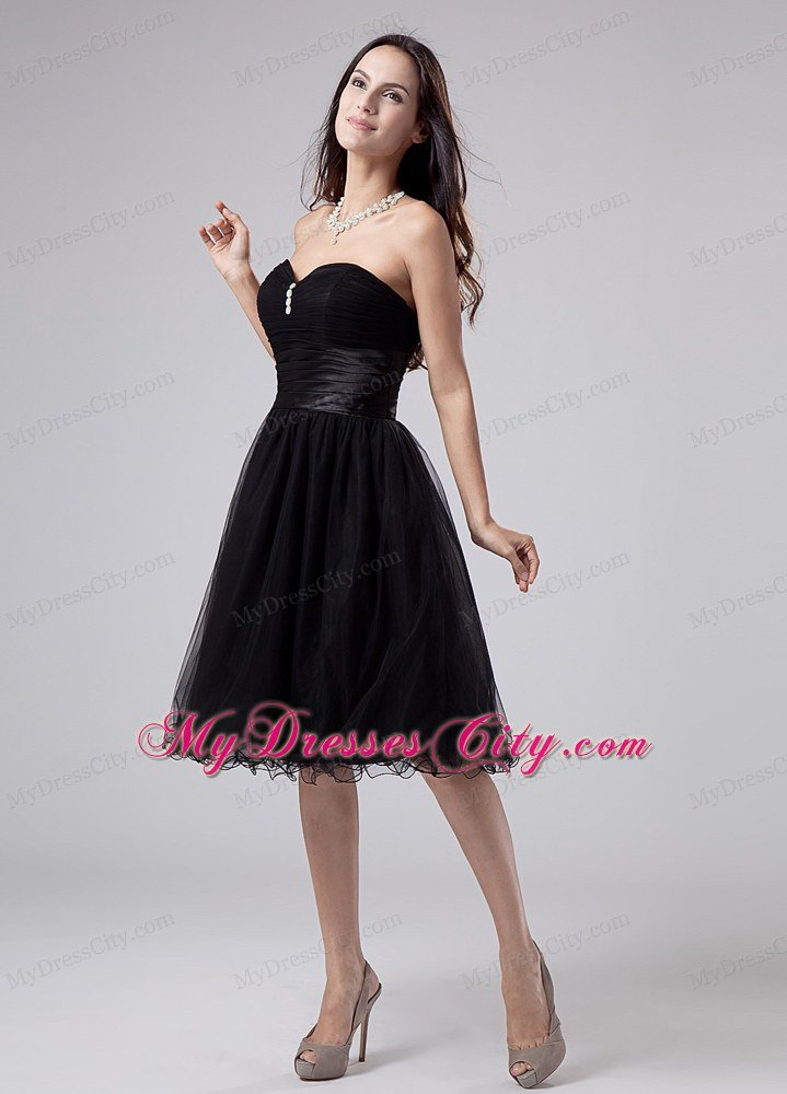 Ruched Sweetheart Little Black Dress With Beading And Sash