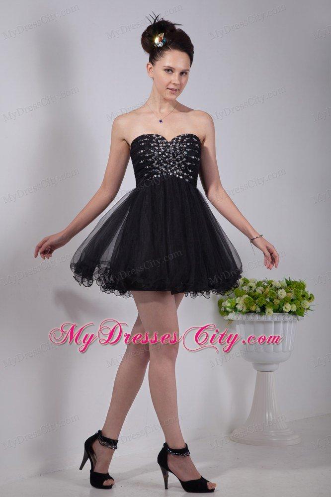 Princess Sweetheart Beading Black Party Dress Mini-length ...