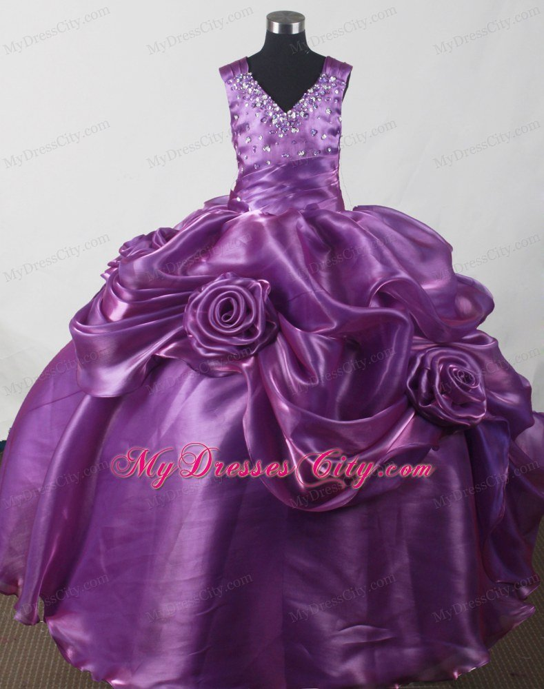 Hand Made Flowers Purple Beaded Straps Girl Pageant Dresses ...