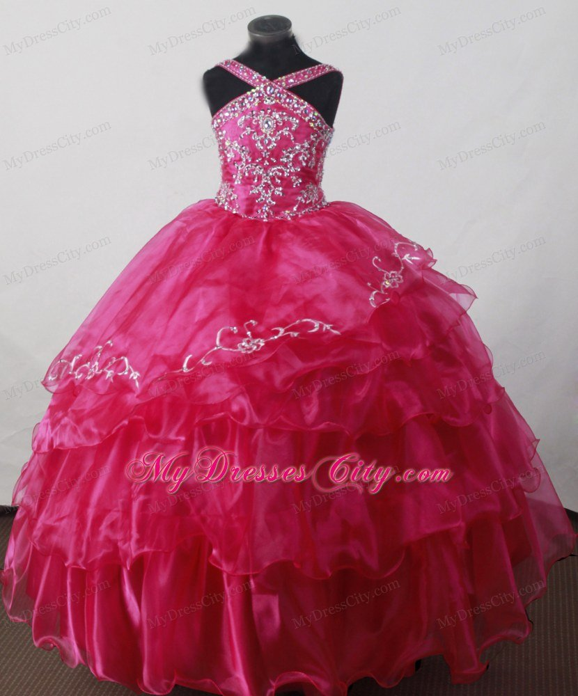 Pink flower girl dresses cheap