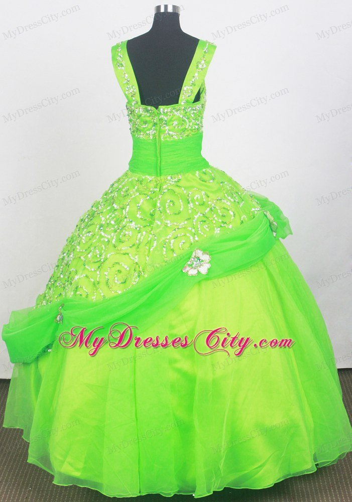 Spring Green Cheap Pageant Dresses for Juniors Embellshed Sash ...