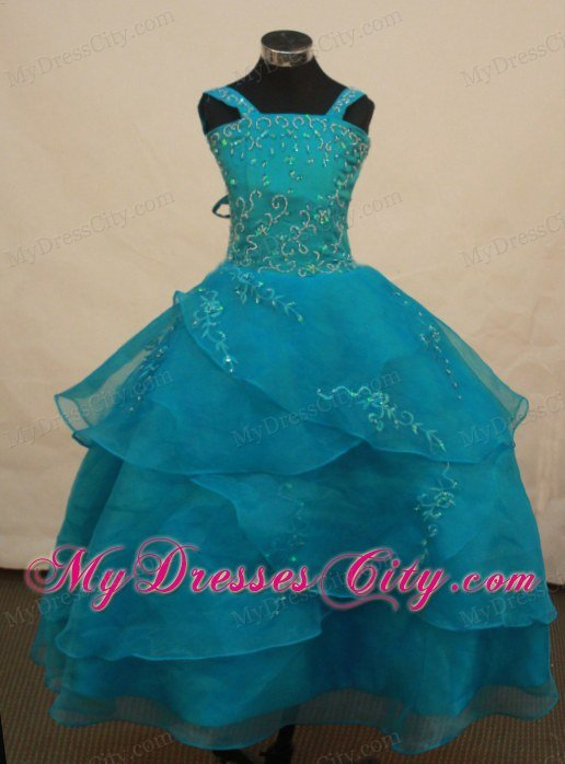 Teal Straps Girl Pageant Dress With Appliques And Layered