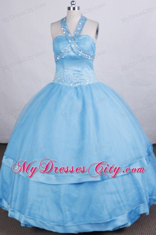 Ball Gown Aqua Blue Halter Beaded Floor-length Glitz Pageant Dress