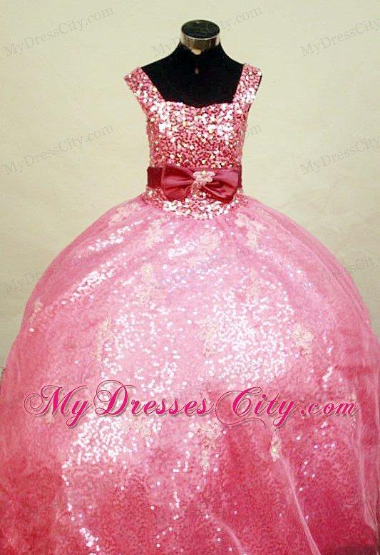 Square Straps Watermelon Paillette Over Skirt Glitz Pageant Dress ...
