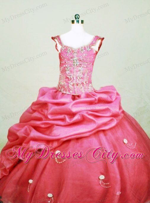 Square Organza Little Girl Pageant Dresses Floor-length Hot Pink